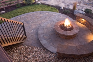 Beautiful backyard patio and fire pit
